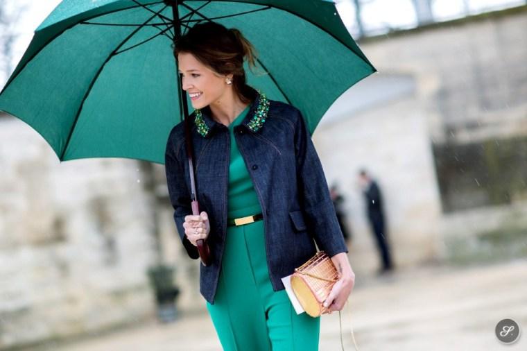helena_bordon_before_elie_saab_street_style_women_pfw_paris_fashion_week_umbrella_rain_suit_denim_jacket_